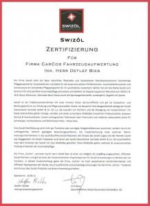 Swizöl Zertifizierung CarCos Saarlouis